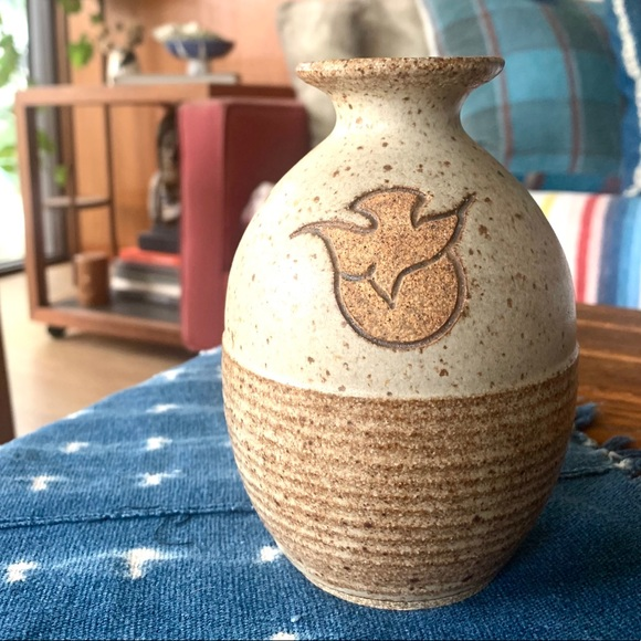 Vintage Pottery Vase, Sun and dove hand thrown